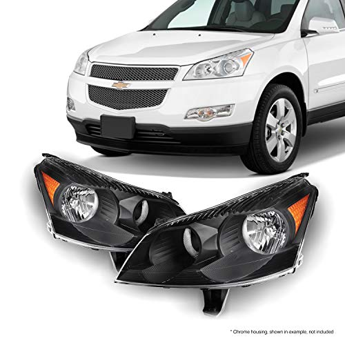 Fits 2009 2010 2011 2012 Chevy Traverse Black Bezel Headlights Headlamps Direct Replacement Left + Right