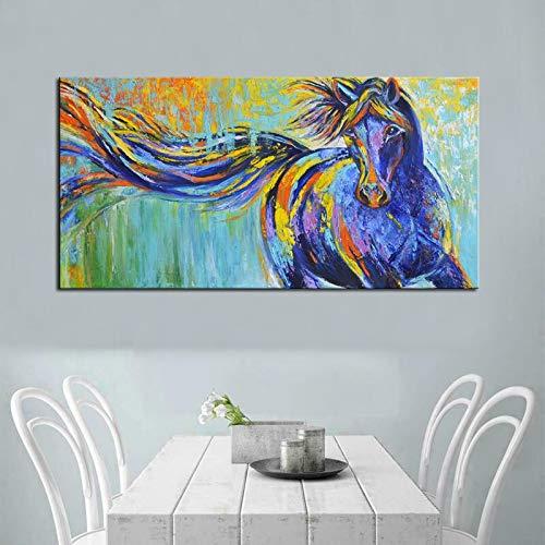 ganlanshu Graffiti abstrakte Kunst Pferd Leinwand Kunst Wanddekoration Leinwand dekorieren Wohnzimmer Ölgemälde auf Leinwand,Rahmenlose Malerei,45x90cm