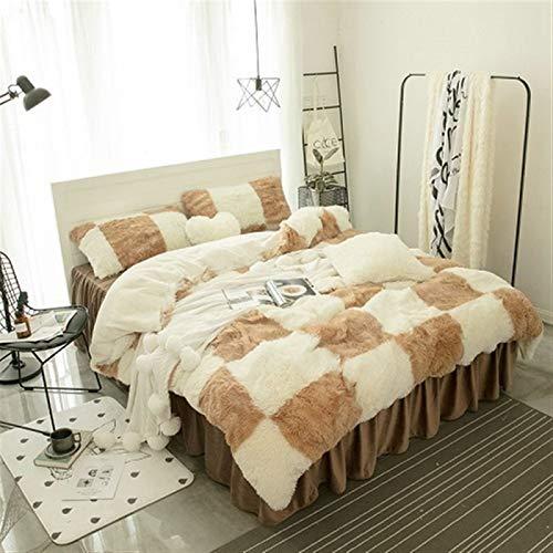 ESUHUANG Purple Gray White Blue Pink Warm Mink Velvet Bedding Set Soft Berber Fleece Duvet Cover Flannel Bed Sheet Bed Skirt Pillowcases (Color : 11, Size : Queen Size 4pcs)
