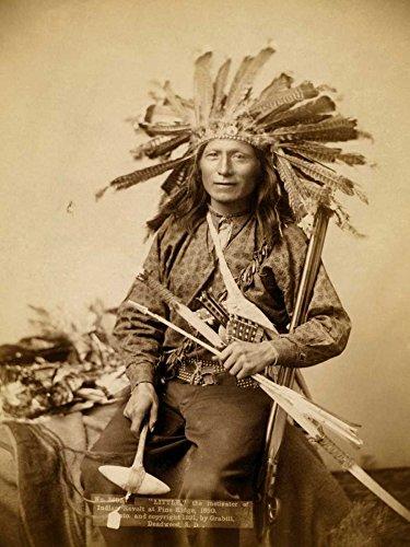Gerahmte Leinwand, klein, der instigator-of-indian-revolt-at pine-ridge, -1890-I-Grabill-John-C.H.-Figurativ-Kunstdruck, gerahmt auf Holzbalken, cm_50,8 x 35,6 cm