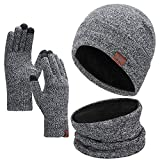 1-3 PCS Winter Beanie Hat Scarf Touchscreen Gloves for Men and Women, Warm Knit Fleece Lined Beanie Gloves Infinity Scarf Set