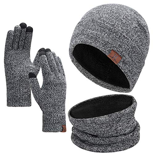Bequemer Laden Wintermütze Herren Strickmütze, Rundschal, Touchscreen Handschuhe - Sets, Warme Handschuhe Winterschal und Mütze mit Fleecefutter, Grau, one size