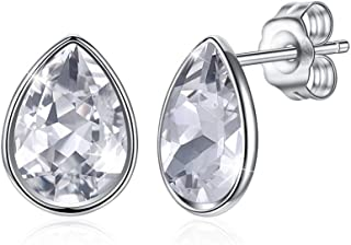 Crystal Earrings European and American Sterling Silver 925 Drop-Shaped Crystal Earrings (Color : Pink) Earrings Gift (Color : White)