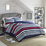IZOD Varsity Stripe, Ultra Soft, All- Season, Light Weight, Breathable, Hotel Quality, Hypoallergenic Comforter Set- Machine Washable, Queen, Red/Navy