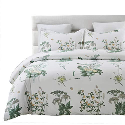 Vaulia Soft Lightweight Microfiber Duvet Cover Set, Floral Botanicals Printed Pattern - Queen Size, White/Green Color