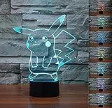 SMIN Luce Notturna 3D Fantasma a LED, Interruttore a sfioramento sfumato a 7 Colori Lampada da Tavolo USB (Pokemon Pikachu)