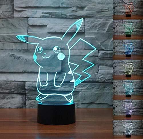 SMIN 3D-Phantom-LED-Nachtlicht, 7-Farben-Farbverlauf Touch-Schalter USB-Schreibtischlampe (Pokemon Pikachu)