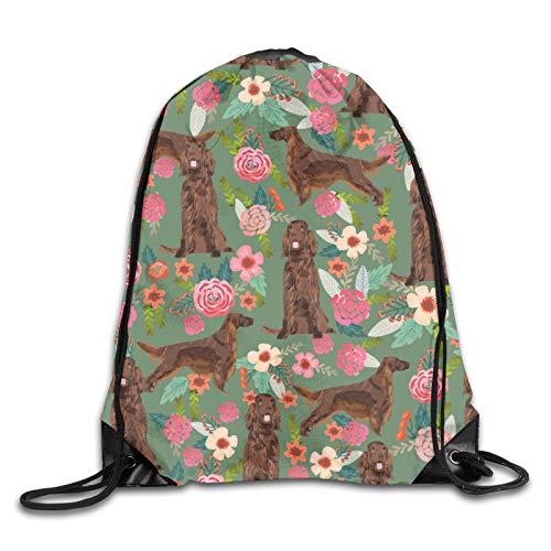 Irish Setter - Bolsa de viaje con diseño de flores, color verde
