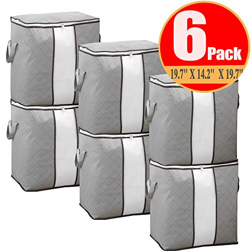 JERIA 90L Foldable Storage Bags, Set of 6 Extra Large Capacity Storage Bins with Clear Window, Closet Organizer Great for Clothes, Blankets, Comforter and More (Grey)