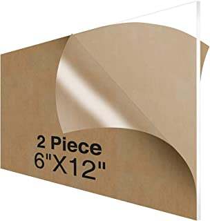 NIUBEE Acrylic Plexiglass Sheet 6x12 Inches (2 Piece),1/8 Inch Thick Clear Plastic Perspex Plate Panel