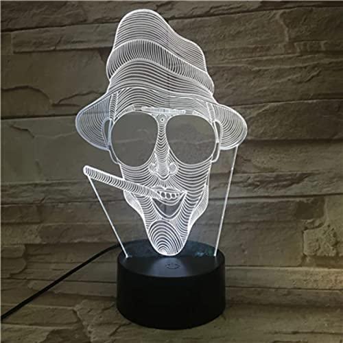 Lámpara De Noche Led De Calavera Con Diseño De Vida De Hombre Fumador Con Luz De Decoración Del Hogar De Ilusión De Cambio De 7 Colores