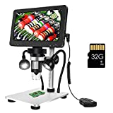 7 Inch LCD Digital Microscope with 32GB TF Card,Dcorn Handheld USB 1200X Magnification 1080P Video Microscope with Metal Stand for Error Coins Soldering Kids,PC View,Windows/Mac Compatible