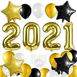 MIAHART Silvesterparty Dekoration 2020 XXL Set, 2020 Riesenfolienballons, Schwarzgold und Weißballon Set Folienballon Dekorationen Partyzubehör