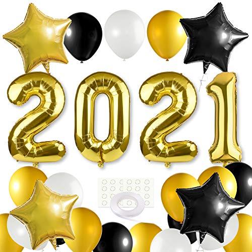 MIAHART 2021 Juego de decoración para Fiesta de graduación 2021 XXL, Globos Gigantes de Aluminio 2021, Kit de Globos Negros, Dorados y Blancos, Decoraciones de Globos de Aluminio para graduación