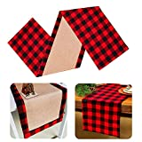 Yodofol Cotton & Burlap Buffalo Checkered Table Runner, Large Christmas Red and Black Plaid Design Table Runner for for Family Dinners, Gatherings and Everyday Use (Red Plaid, 14 x 72 inch)