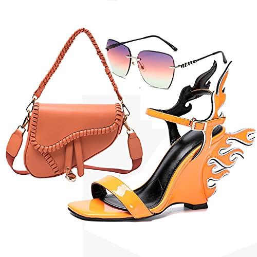 AELEGASN Conjunto de Bolso de Sandalia y Gafas de Sol de Moda para Mujer, Elegante Tacones, Bolso de Hombro Retro, Conjunto de Gafas de Sol Personalizadas,41