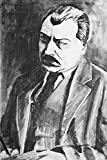 A Charcoal Drawing of a Portrait of a Serious Mustached Man in a Jacket A-9015739 (16x24 Gallery Quality Metal Art)