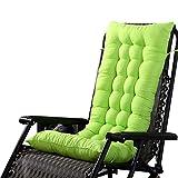 Urijk Coussin de Chaise de Jardin Coussin de Fauteuil Extérieur en Polyester Épais Doux Coussin d'Assise Dossier Terrasse Cousse de Chaise Longue Bain de Soleil (110cm*40cm, Vert)