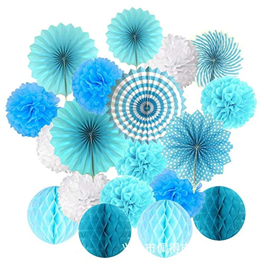 Axgo Deco Accessories Paper Poms Flowers Fan and Honeycomb Balls for Birthday Party Wedding Festival Christmas Decorations, Blue