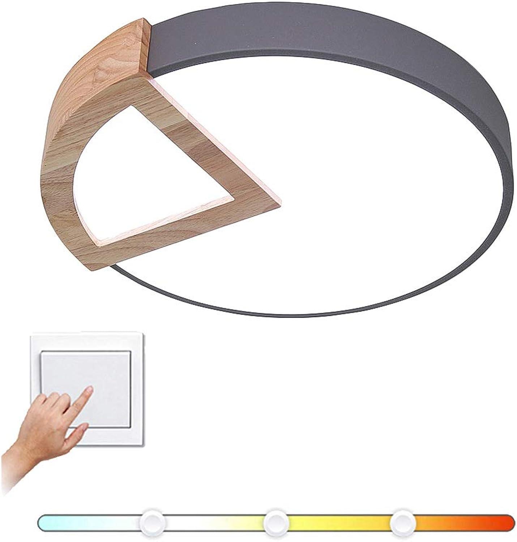 CCSUN Plafond led lumière dimmable 18w Rond, Créatif Plafond à proximité Bois 1170-1350lm 11.8 in Cablé Pour Chambre à coucher Salon Couloir Cuisine-noir 3 modes