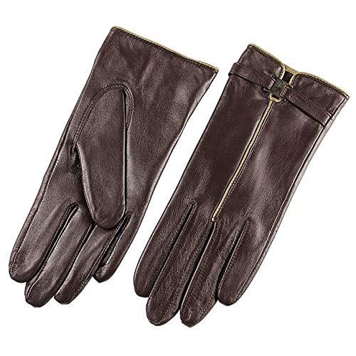 Genuine Leather Gloves Women Fashion Winter Glove Swallow-Tailed Style- Dark Brown,XL