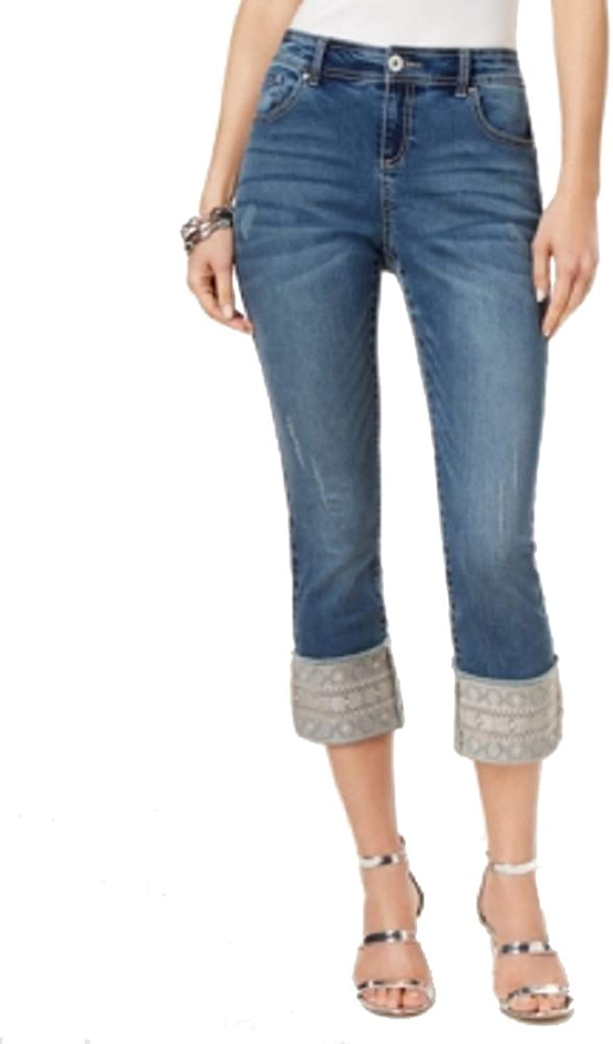 INC International Concepts I.N.C. Embroidered Cuffed Jeans