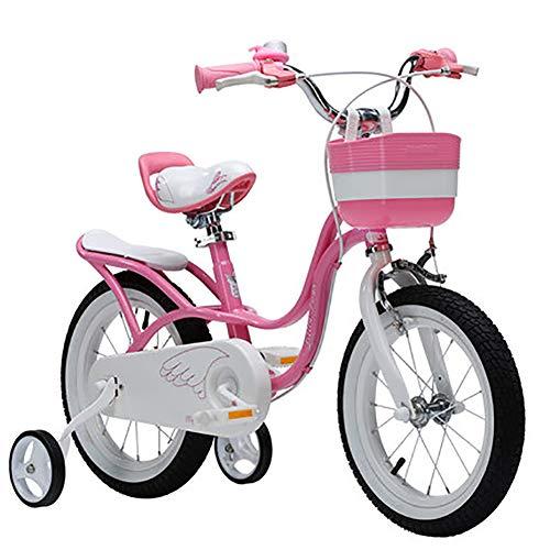 SHARESUN Pink swan meisje kinderfiets, met verstelbare stoel stuur stabilisatoren en mand kinderen Fiets in maat 12