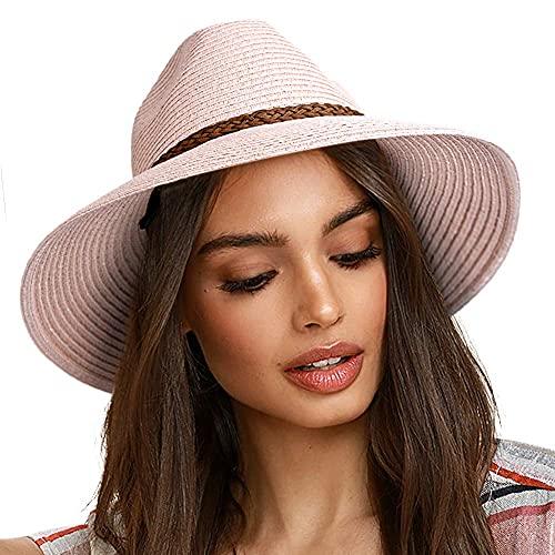 Mantimes Solhattar för kvinnor sommar brett brätte UV UPF 50+ Panama Fedora vikbar packbar halmstrandhatt Rosa M