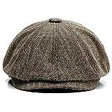 Charmylo Newsboy Cap Baker Boy Hat Gorras Planas - 8 Paneles Peaky Herringbone Tweed Gatsby Hat Ivy Irish Cap para Hombres y Mujeres, Café, 59-61