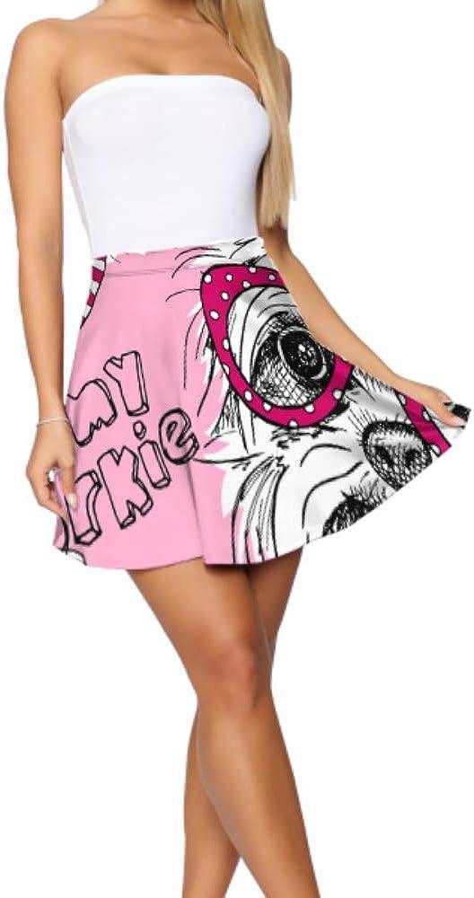 Mini Skater Skirts for Women A Dog York in Glasses Print Mini Skirt Women's Basic Casual