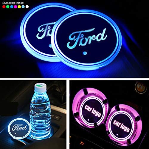Interestingcar LED Auto Getränkehalter Lichter, LED Auto Logo Getränkehalter Pad wasserdichte Flasche Getränke Coaster LED Tasse Matte Auto Atmosphäre Lampe 2 STÜCKE (fit fo-rd)