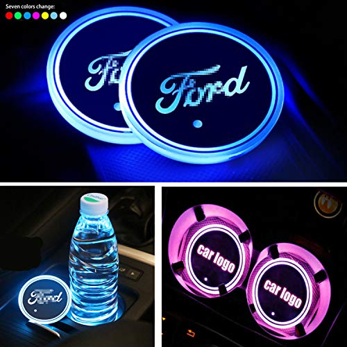 Interestingcar LED Car Cup Holder Lights,LED Car Logo Cup Holder Pad Waterproof Bottle Drinks Coaster Built-in Light 7 Colors Changing USB Charging Mat LED Cup Mat Car Atmosphere Lamp 2PCS (fit fo-rd)