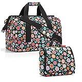 reisenthel - Set di borse da viaggio factotum, composto da un borsone di taglia L e una trousse da bagno di taglia XL Multicolore Happy Flowers L, XL