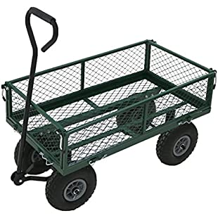 Oypla Heavy Duty Metal Gardening Trolley - Green Trailer Cart