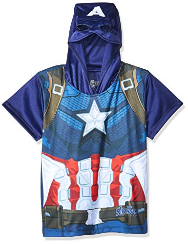 Avengers End Game Playera Capitan America Camiseta de Manga Corta para Niños, Color Azul, 12