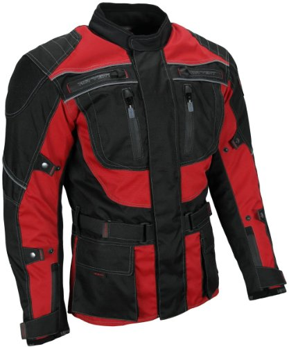 HEYBERRY Touren Motorrad Jacke Motorradjacke Textil schwarz rot Gr. 3XL