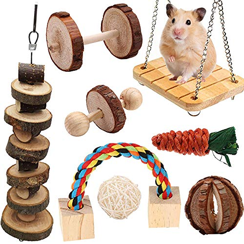 JMZYQ Juguetes para Masticar Hámster Set Natural Madera Masticar Accesorios,Mascota Ejercicio Varilla Molar para Animales pequeños(8 Piezas)