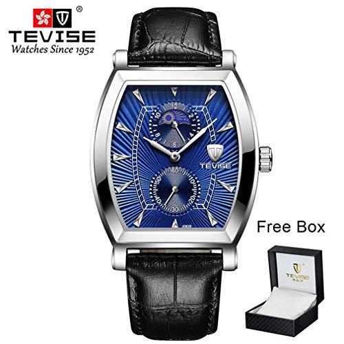 Tevise 8383S Reloj de Moda de Cuarzo para Hombre Reloj Luminoso Acero Inoxidable Azul