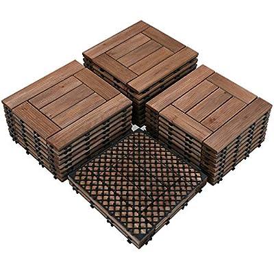 Yaheetech 27PCS Patio Pavers Interlocking Wood Composite Decking Flooring Deck Tiles 12 x 12 Fir Wood and Plastic Indoor Outdoor Applications Stripe Pattern