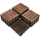 Yaheetech 27PCS Wood Flooring Decking Deck Tiles Interlocking Patio Pavers Dance Bathroom Shower Floor Tiles Solid Wood and Plastic Indoor Outdoor 12 x 12in Brown