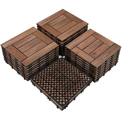 Yaheetech 27PCS Wood Flooring Decking Deck Tiles Interlocking Patio Pavers Dance Bathroom Shower Floor Tiles Solid Wood and Plastic Indoor Outdoor 12 x 12in Brown