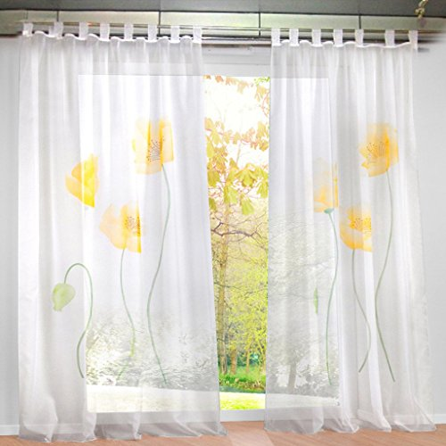 Floral Tab Net Curtain with Flowers Printed Fabric in 3 Colours and 4 Sizes, Fabric, yellow, H*B 175*150cm