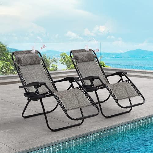 Tumbonas de jardín y exteriores, tumbonas, sillas reclinables, plegables, resistentes, textoline, gravedad cero, plegables, con portavasos, color gris (2 unidades)