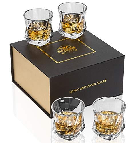 KANARS Whiskey Gläser Set, Bleifrei Kristallgläser, Whisky Glas, Schöne Geschenk Box, 4-teiliges, 210 ml, Hochwertig