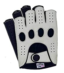 Best Driving Gloves In The World - Riparo Women Genuine Leather Reverse Stitched Half-Finger Fingerless Motorcycle Gloves