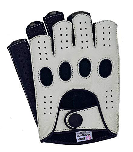 Riparo Herren-Motorradhandschuhe aus Leder, fingerlos, halbe Finger, zum Autofahren, Herren, weiß / schwarz, Small