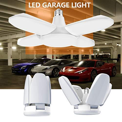 Gezee LED Garagenleuchten, 60W E27 6500K 6000LM verstellbare Garagenlicht für Garage, Lager, Werkstatt, Keller, Turnhalle, Küche(1er-pack)
