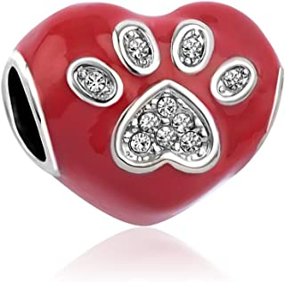 TGLS Dog Mom Charm Pet Dog Paw Print Beads for Bracelet Mother Gifts