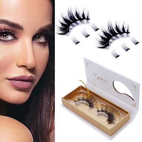 Eyewin Dramatic Magnetic Eyelashes 3D Long Eye lashes Extension, No Glue 8 Pcs Magnetic Lashes, Silk Natural Look Reusable Eyelashes Large Waterproof Magnetic Eyelashes