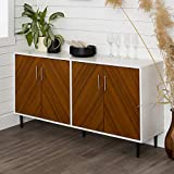 Walker Edison Caye Modern 4 Door Bookmatch Buffet, 58 Inch, White and Teak